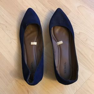 Navy pointed toe ballet wedged flats 10